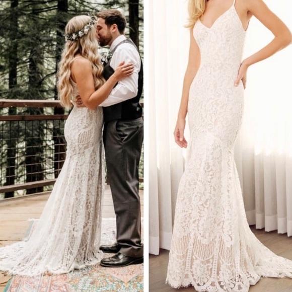 Lulu's Dresses & Skirts - Lulu's Flynn White Lace Wedding Dress
